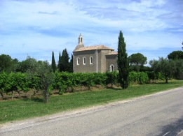 Church in the vineyards on the way to St Cecile