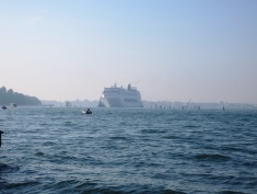 Cruise appears through the mist