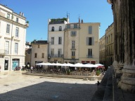Nimes - cafe by the temple