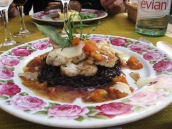 Monkfish and black rice at Isle Sonnante - note the beautiful platter.
