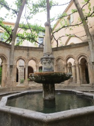 Fountain in the Abbaye courtyard