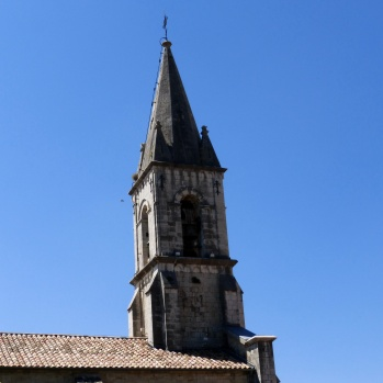 Church spire in Callas