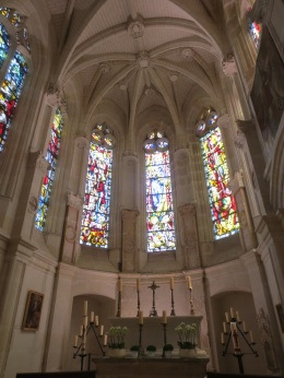 Beautiful stained glass windows in the chapel at Chenonceau