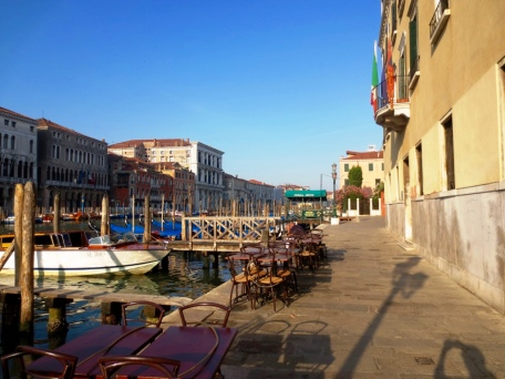 Empty promenade along the Grand Canal
