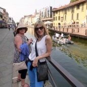 Two women on the canal