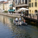 Police work on the canal