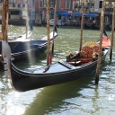 Gondola moored near the hotel