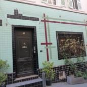 The unique tiled facade of Casa Ortega