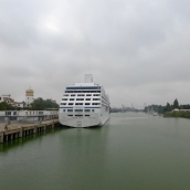 Cruise ship docked on then River Guadalquivir - bit of a surprise!