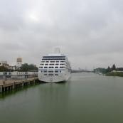 Cruise ship docked on then River Guadalquivir - bit of a surprise!