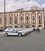 There was a strong police presence in the Piazza