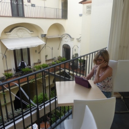 Blogging on the terrace at Montefusco Palazzo