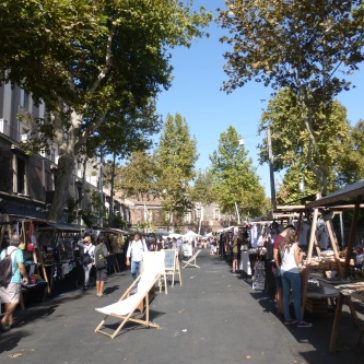 A pop-up market in the area behind the hotel
