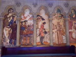 One of the colourful friezes adorning the walls