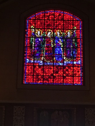 The stained glass is vivid